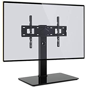 Black SONOROUS PL-2335 Modern TV Stand with Glass Base for TVs up to 65