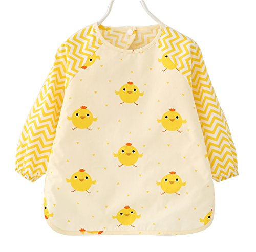 (F&C Toddler Baby Waterproof Sleeved Bib (Chick, 12-18M(70-80CM)))