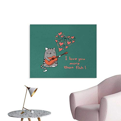 (Tudouhoho I Love You More Custom Poster Cartoon Singing Cat with Guitar More Than Fish Song Music Notes and Hearts Poster Wall Decor Multicolor W28)
