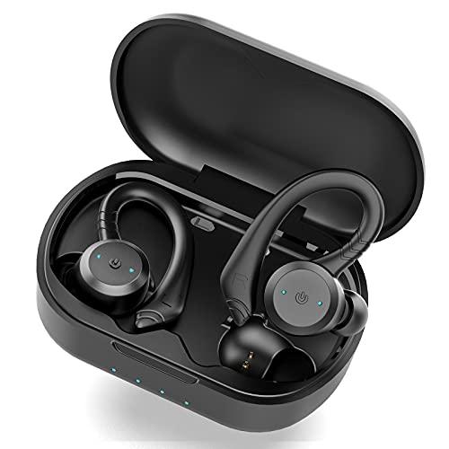 Auriculares Inalambricos Bluetooth 5.1, Retirable Gancho para la Auriculares Bluetooth Deportivos Wireless Earbuds y HD Mic, IP7 Impermeable, Cancelación de Ruido In Ear Auriculares con Caja Carga