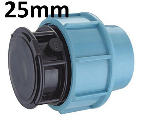 PP-Endkappe für 25 mm PE-Rohr Endstück Endteil (Endkappe 25mm) Schraubfitting