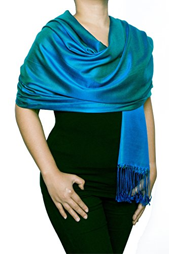 Opulent Luxury Scarf Shawl Wrap Reversible 100% Silk Soft Blue & Turquoise 70