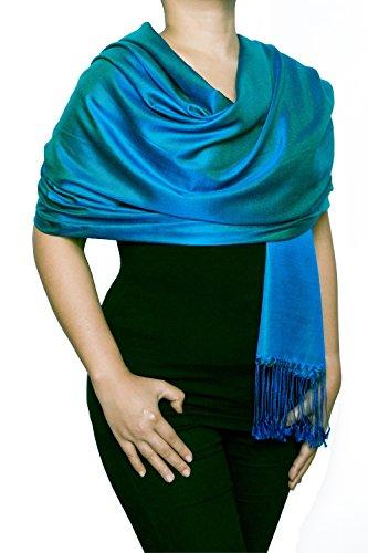 Opulent Luxury Scarf Shawl Wrap Reversible 100% Silk Soft Blue & Turquoise 70