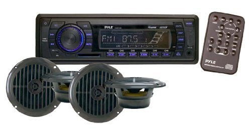 Marine Headunit Receiver Speaker Kit - In-Dash LCD Digital Stereo w/AM FM Radio System 6.5'' Waterproof Cone Speakers (4) MP3/USB/SD Readers Aux Input Single DIN & Remote Control - Pyle PLMRKT14BK