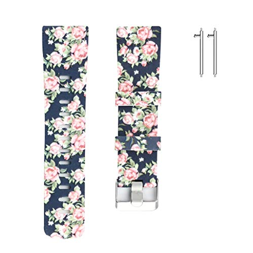 MChoice❤️Soft Silicone Floral Pattern Sport Strap Replacement Watchbands for Fitbit Versa Bands Men Women (B)