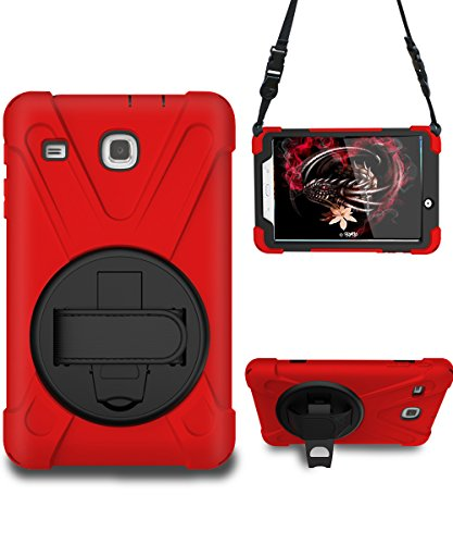 Galaxy Tab E 8.0 Case, STLDM Heavy Duty Shockproof Three Layers Hybrid Armor Impact Resistant Full-Body Protective Case Cover for Samsung Galaxy Tab E 8.0 Inch Tablet(SM-T377/SM-375) Red Black