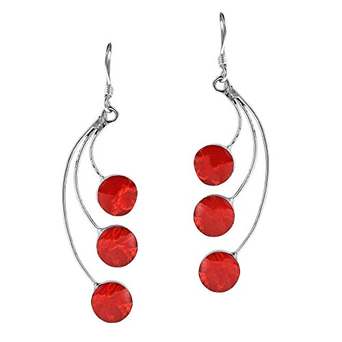 - Dandelion Floating Reconstructed Red Coral .925 Sterling Silver Dangle Earrings