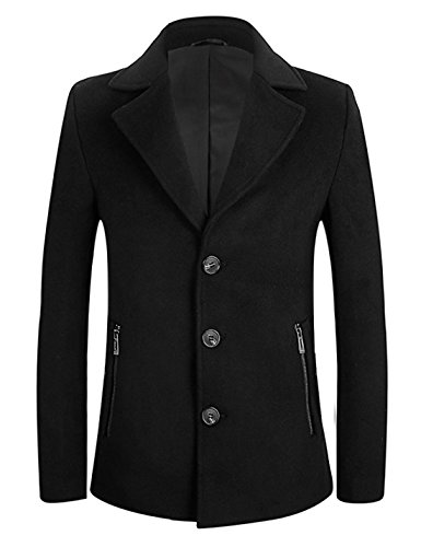 APTRO Men's Winter Single Breasted Wool Pea Coat 1709 Black L -