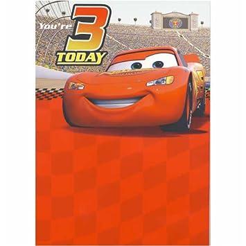 Disney Cars Lightning Mcqueen Age 3 Today Sound Birthday Card