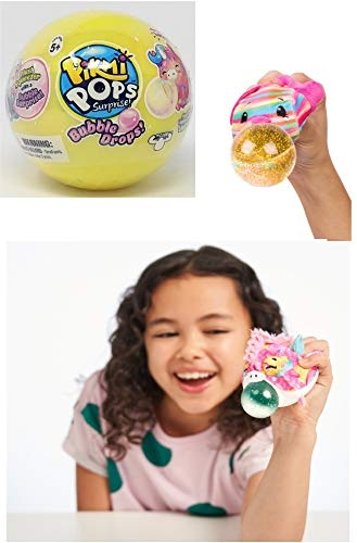 New Pikmi Pops Surprise Bubble Drops Mystery Blind Pack Ball - Yellow - Collectible Squeezy Plush Toys That Blows a Fun, Glitter Bubble Surprise When Squeezed.