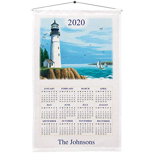 Personalized 1 Year Calendar Towel, Lighthouse Design- Included Dowel and Hanging String Allow for Instant Hanging - Linen and Cotton Blend, 16 in. by 27 in. - Housewarming or Wedding Gift