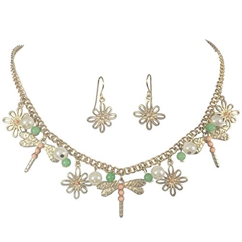 Gypsy Jewels Dainty Dragonfly Charm Imitation Pearl Dangle Gold Tone Statement Necklace Earring Set (Mint Green & Peach) (Mint Leather Bangle)