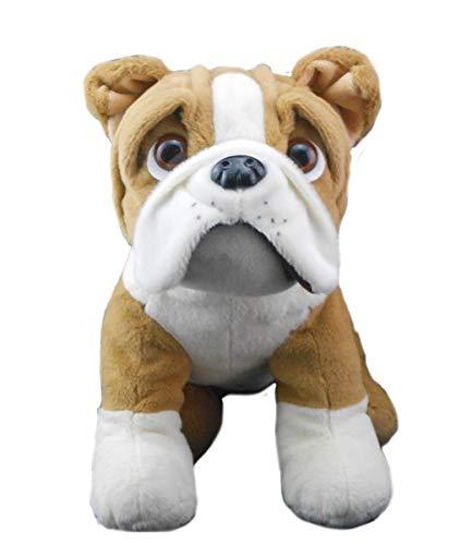 "Teddy Mountain NY Buddy The Bulldog 16"" Fluffed and Soft Plush w/ Cute Backpack"