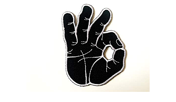 OK okay hand sign signal logo retro applique iron-on patch new