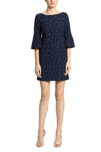 Badgley Mischka Short Cocktail Dress with Half Length Sleeves, Black with Blue Leopard Print, Size 14