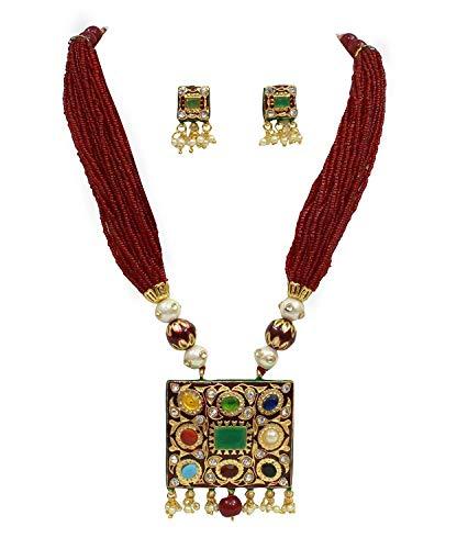 Runjhun Jewellery Navaratna Semi Precious Gemstones in mahroon Color Mala Traditional Designer Necklace Handicrafted in India for Women Girls