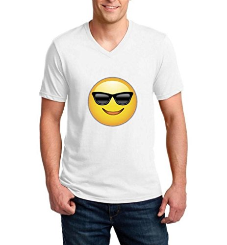 Artix Emoji with Sunglasses Fashion People Couples Gifts Best Friend Gifts Ringspun Men V-Neck T-Shirt XXX-Large - Sunglasses Chive