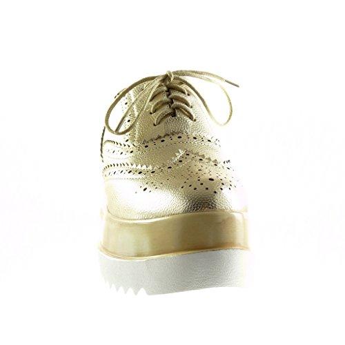 Angkorly - Chaussure Mode Richelieu plateforme femme perforée Talon compensé plateforme 7 CM - Or