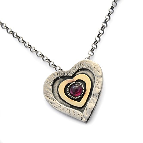 (Garnet Heart Necklace, two tones necklace, Sterling silver, 9K gold pendant, Textured silver heart, January birthstone, Everyday necklace, Silver necklace)