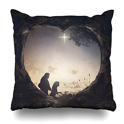 Ahawoso Throw Pillow Cover Square 18x18 Inches Christmas Nativity Story Mother Mary Biblical Jesus Manger Birth Born Child Cushion Case Home Decor Pillowcase