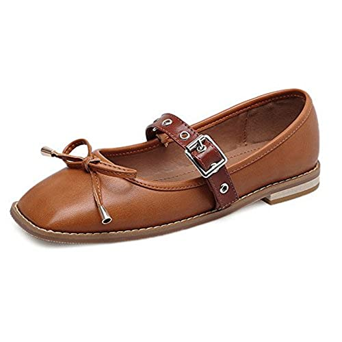 1TO9 Womens Buckle Bows Square-Toe Square Heels Urethane Flats Shoes