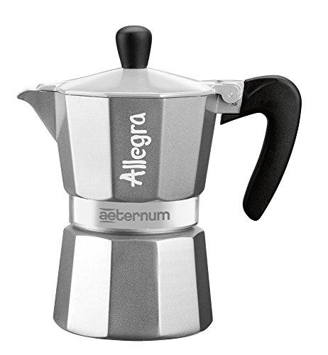 Bialetti Allegra Cafetera Espresso con Una Taza, Aluminio, Negro/Plata, 13 x 7 x 12 cm