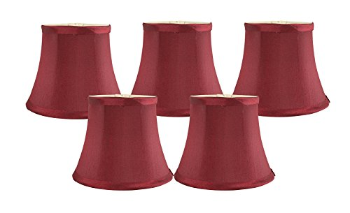 Meriville Set of 5 Burgundy Faux Silk Clip On Chandelier Lamp Shades, 4-inch by 6-inch by (Crystal Silk Chandelier)