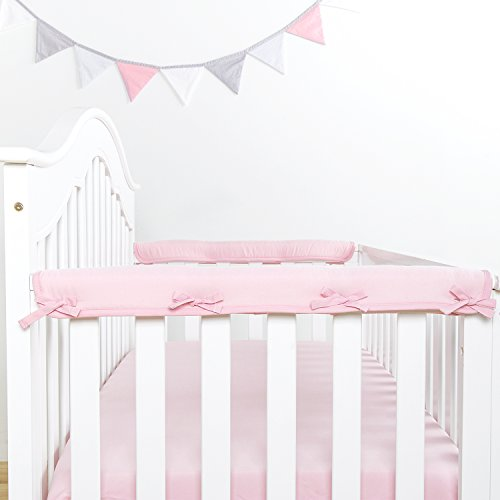 TILLYOU Padded Baby Crib Rail Cover Protector Safe Teething Guard Wrap for Narrow Side Crib Rails(Measuring up to 4'' Folded), 100% Silky Soft Microfiber Polyester, Reversible, Lt Pink/White by TILLYOU