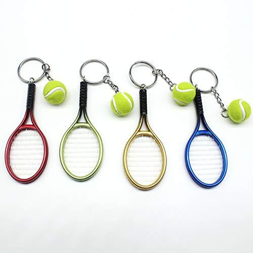Astra Gourmet 4 Pieces Tennis Racket Keychain Key Rings Metal Tennis Ball Split Keychain Set, 4 Colors