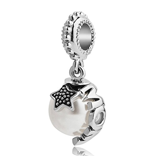 - Mel Crouch Pink Crystal Love Heart Charms Mom Charms or Sister Charms or Girl Daughter Charm for Bracelet (mom 1)