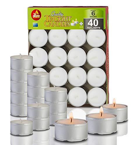 6 Hour Tea Light Candles - 40 Pack Bulk Package - White Unscented Travel, Centerpiece, Decorative Candle With Maxi Burn Time - Pressed Wax - By Ner Mitzvah