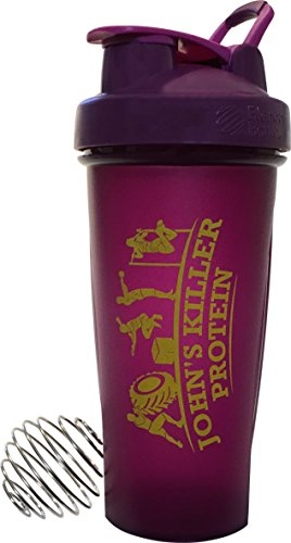 JOHN'S KILLER PROTEIN - FULL COLOR BLENDERBOTTLE® WITH LOGO. 28 oz. This custom BlenderBottle® makes a statement that you take your diet and workouts seriously. (Plum With Gold Logo)