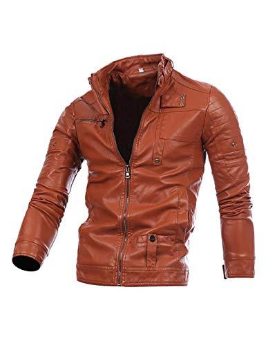 Moto Zip Blouson Homme Simili Serface cuir Brown Veste Cuir Cool Hiver Roulé Col wPXdFxdqp