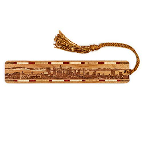 Los Angeles California Skyline Engraved Wooden Bookmark with Tassel - Personalized Version Also Available - Search B0733Q37V9.