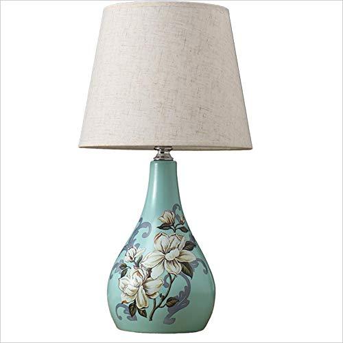 DDHZTA Keramik-Tischlampe Cyan Ceramic Table Lampe, Creative Painted Bird Table Lampe Switch 25cm46cm,CYANA