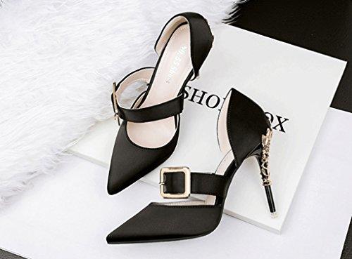 Alto Moda Sandalias Yaoyao Ltd Versión Sexy Coreana Zapatos Estrechas Sandalias Negro Moda Nocturno Club De Trading Shanxi Co Tacón Yeye xPnCwqOUO