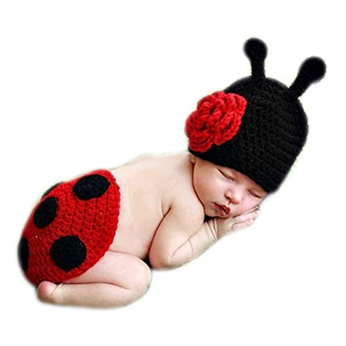 Fashion Newborn Baby Photography Props Boy Girls Photo Shoot Props Outfits Crochet Knitted Costume Unisex Cute Infant Hat Pants Set (Ladybug) -