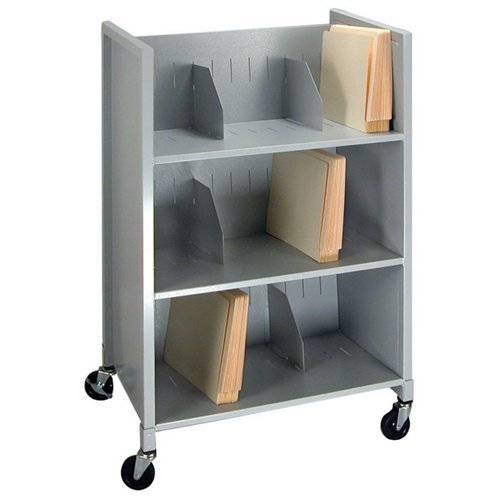 Buddy Products Three Tier Medical File Folder Cart, Steel, 16 x 38.75 x 26 Inches, Platinum (5428-32) Buddy Products Printer