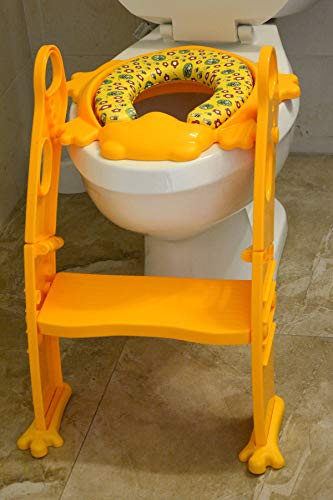Potty Training Helper with Ladder - 6 Colors to Choose Frog SEAT! Mr Frog (Yellow)