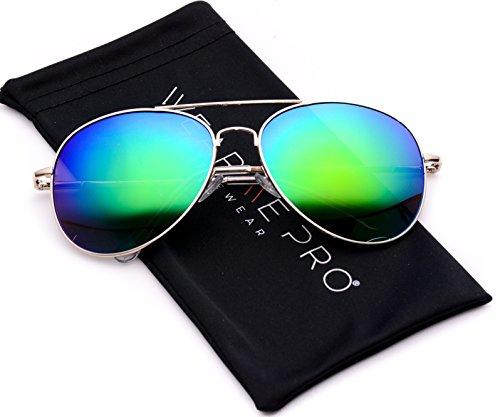 WearMe Pro - Classic Mirror Lenses Aviator Sunglasses w/Flex Hinges
