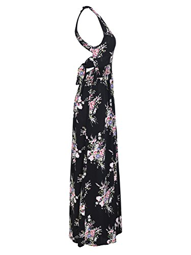 Dress BerryGo Women's Chic Print Floral Sleeveless Maxi Split Backless Print3 Halter rqqxSzdw