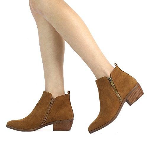 TOETOS Damen Cowboy Blockabsatz Seitlicher Reißverschluss Ankle Booties Tan Wildleder