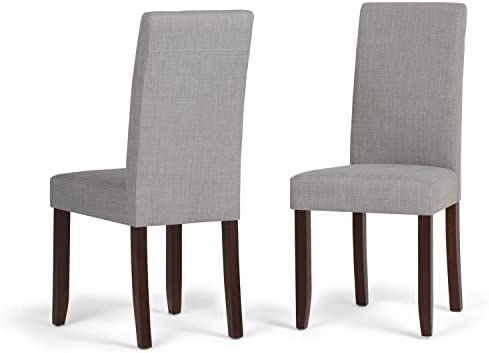 Simplihome Acadian Contemporary Parson Dining Chair Set Of 2 In Dove Grey Linen Look Fabric Chairs