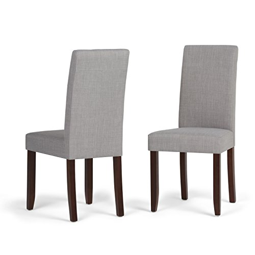 Stupendous Simpli Home Ws5113 4 Dgl Acadian Contemporary Parson Dining Chair Set Of 2 In Dove Grey Linen Look Fabric Ncnpc Chair Design For Home Ncnpcorg