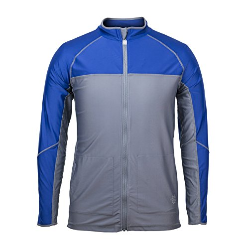 UV SKINZ UPF50+ Men's Full Zip Water Jacket-Grey/Navy (Full Zip Water)