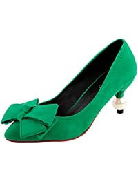 Show Story Women's Sexy Green Bow Party Pointed Toe Exquisite Pearl Heel Dress Pump,LF60414