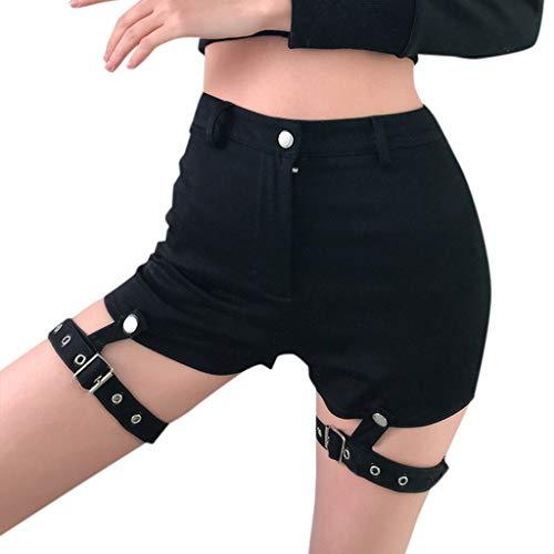 (iFOMO Girls Night Out Summer Casual Mid Rise Raw Hem Denim Shorts Black-2 S)