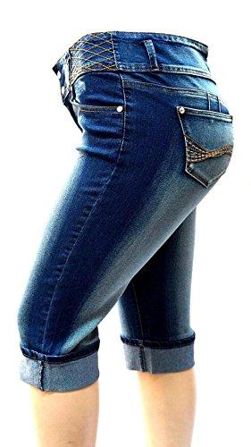1826 Jeans KB26 Womens Plus Size Stretch HIGH Waist Blue/Black Capri Denim Jeans Pants