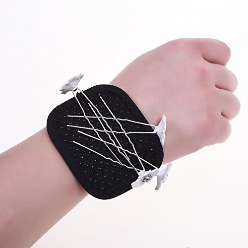 Kloud City Magnetic Wristband with Elastic bungee strap Bracelet for Holding Bobby Pins Hairpin, Screws, Nails, small tools (Black / Silver) - Mag Pickup Tool