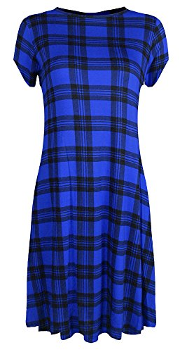 Royal Print Re Tech Vestito Blue Tartan Corte Maniche Uk Donna YF6FCqxPw